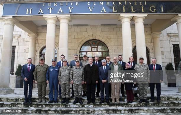 Turkish Defense Minister Hulusi Akar Turkish Chief of General Staff Yasar Guler Land Forces Commander Umit Dundar Air Forces Commander Hasan...