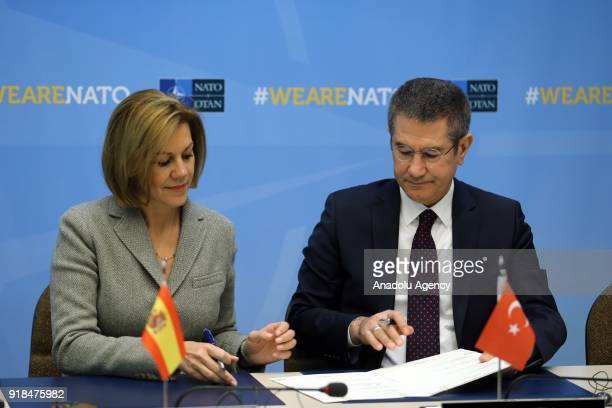 Turkish Defense Minister Nurettin Canikli and Spain's Defence Minister Maria Dolores de Cospedal attend the signing ceremony of Letter of Intent on...