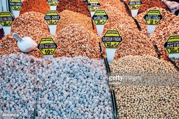 Turkish Delight and Mixed Nuts in Grand Bazaar - Eminonu District in Istanbul