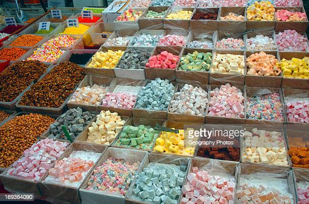 Turkish delight sweets on market stall Fethiye Turkey
