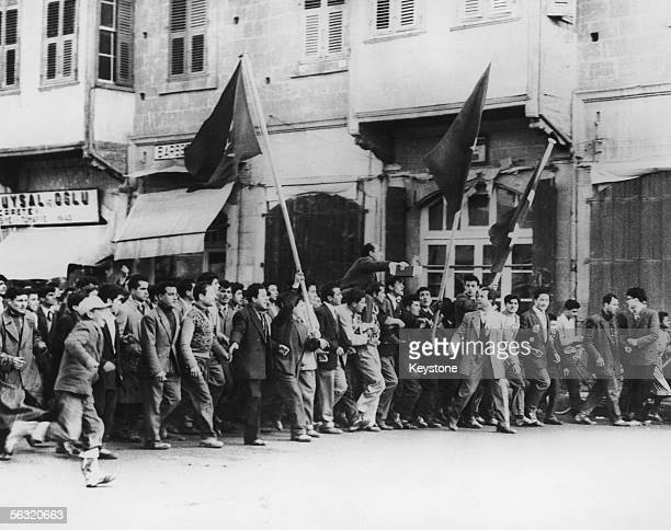 Turkish demonstraters on the streets of Nicosia in Cyprus 3rd February 1958 Five Turkish Cypriots were killed during the disturbances when British...