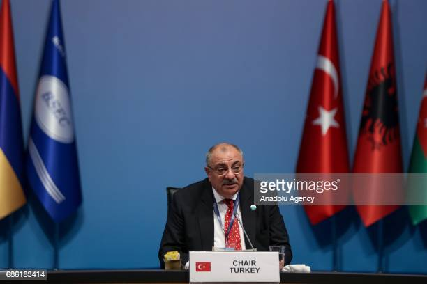 Turkish Deputy PM Tugrul Turkes delivers a speech during the Organization of the Black Sea Economic Cooperation Foreign Ministers Meeting at Lutfi...
