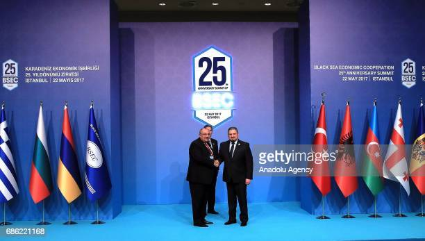 Turkish Deputy PM Tugrul Turkes shakes hands with Deputy Prime Minister Minister of Foreign Affairs and European Integration of Moldova Andrei Galbur...