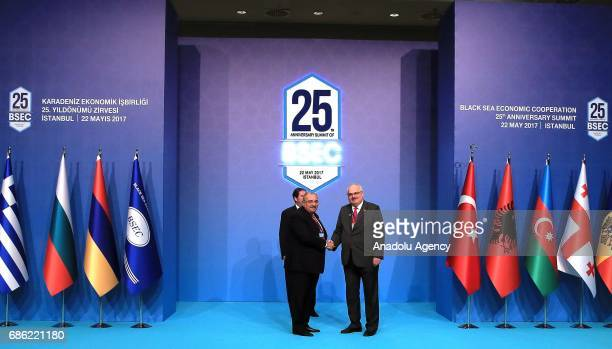 Turkish Deputy PM Tugrul Turkes shakes hands with Georgian Deputy Foreign Minister David Jalagania during the Organization of the Black Sea Economic...