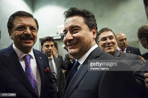 Turkish Deputy Prime Minister Ali Babacan and Rifat Hisarciklioglu President of The Union of Chambers and Commodity Exchanges of Turkey attend a B20...