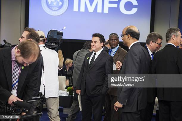 Turkish Deputy Prime Minister Ali Babacan arrives for the International Monetary and Financial Committee meeting during the 2015 IMF/World Bank...