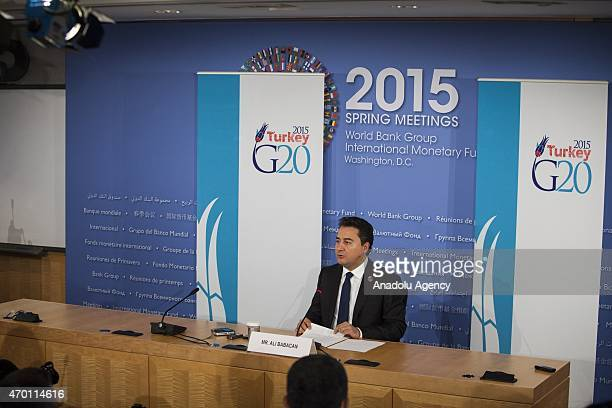 Turkish Deputy Prime Minister Ali Babacan as he chairman of the G20 Committee conducts a press conference during the 2015 IMF/World Bank Spring...