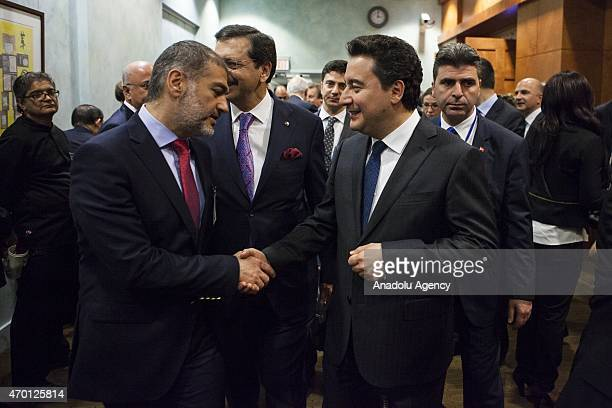 Turkish Deputy Prime Minister Ali Babacan attends a B20 panel during the 2015 IMF/World Bank Spring Meetings in Washington USA on April 17 2015