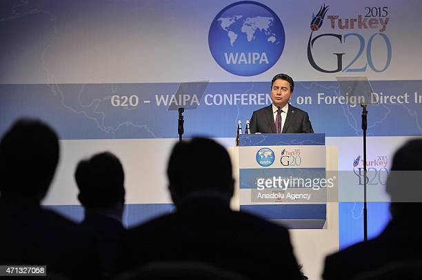 Turkish Deputy Prime Minister Ali Babacan delivers his speech at the G 20 Foreign Direct Investment Conference of World Association of Investment...