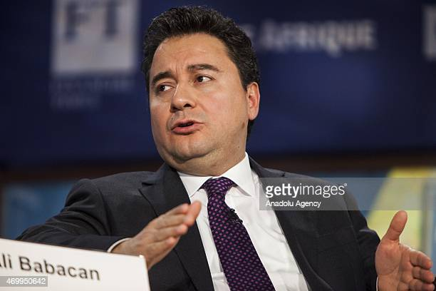 Turkish Deputy Prime Minister Ali Babacan participates in a panel debate on Islamic Finance during the International Monetary Fund Spring Meetings in...