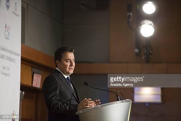 Turkish Deputy Prime Minister Ali Babacan speaks during a B20 panel at the 2015 IMF/World Bank Spring Meetings in Washington USA on April 17 2015