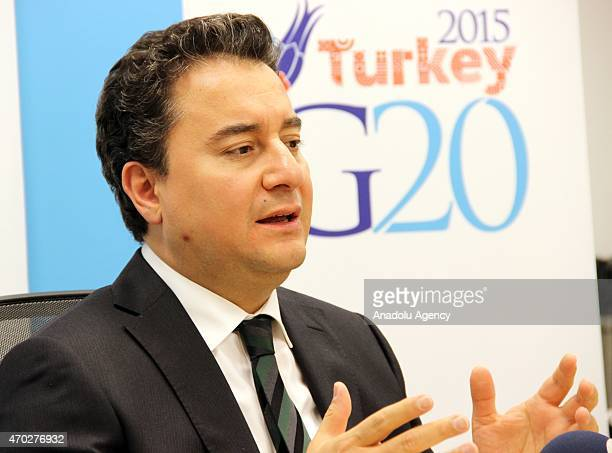 Turkish Deputy Prime Minister and G20 Chair Ali Babacan speaks after the 2015 IMF/World Bank Spring Meetings in Washington USA on April 18 2015