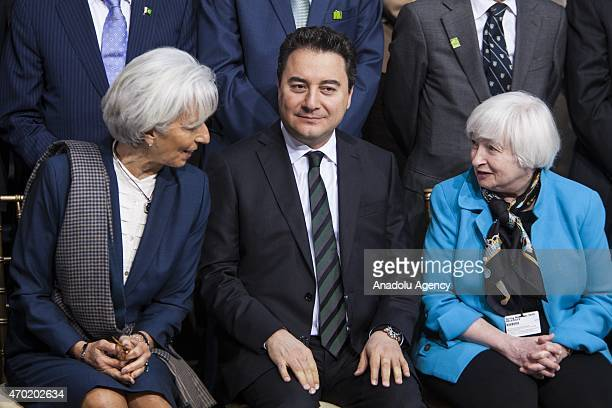 Turkish Deputy Prime Minister and G20 Chair Ali Babacan speaks with IMF Managing Director Christine Lagarde and Federal Reserve Chair Janet Yellen...