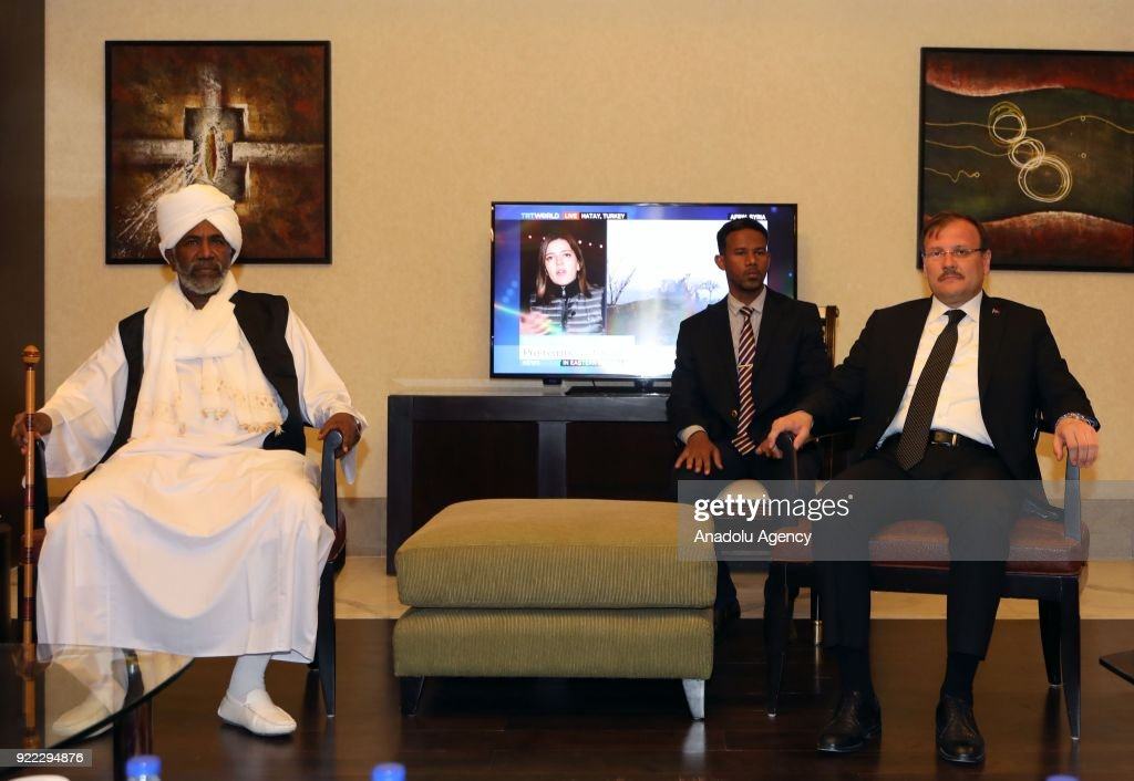 Turkish Deputy Prime Minister Hakan Cavusoglu (R) meets with Sudanese Minister of International Cooperation Suleiman Youssef (L) in Khartoum, Sudan on February 20, 2018.