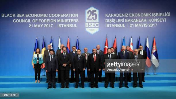 Turkish Deputy Prime Minister Tugrul Turkes and other leaders pose for a family photo during the Organization of the Black Sea Economic Cooperation...