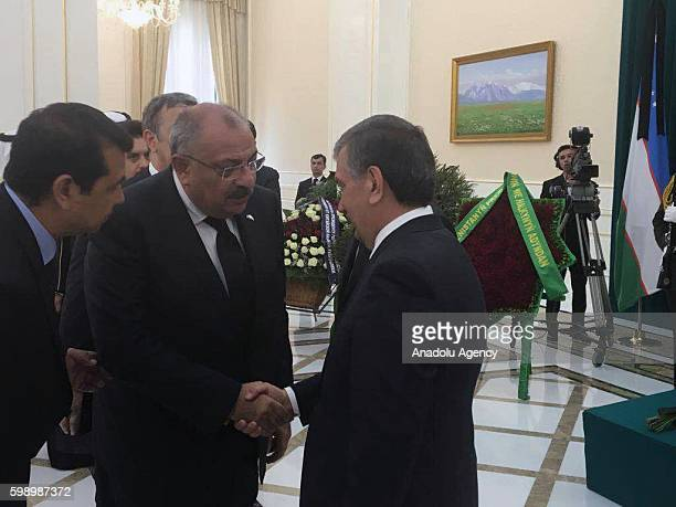 Turkish Deputy Prime Minister Tugrul Turkes attends the funeral ceremony held for Uzbekistan's President Islam Karimov who died after suffering brain...