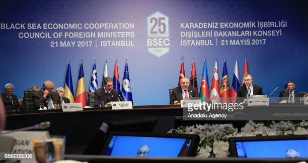 Turkish Deputy Prime Minister Tugrul Turkes delivers a speech during the Organization of the Black Sea Economic Cooperation Foreign Ministers Meeting...