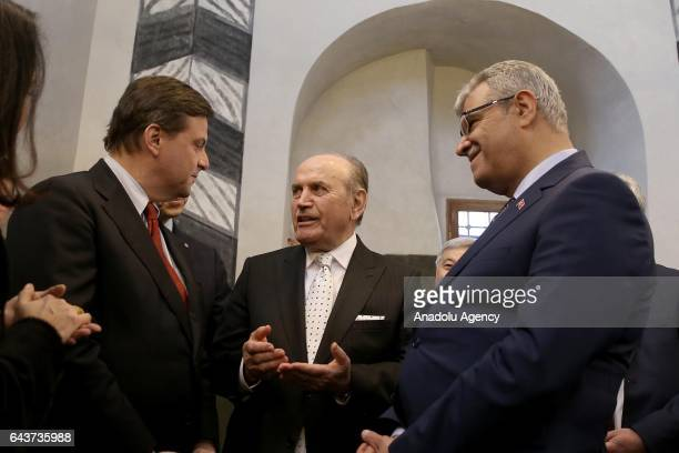 Turkish Deputy Prime Minister Veysi Kaynak , Italian Minister of Economic Development Carlo Calenda and Mayor of Istanbul Kadir Topbas attend the...