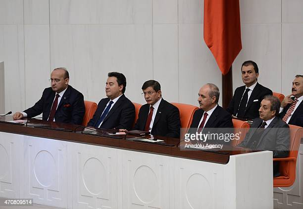 Turkish Deputy Prime Ministers Yalcin Akdogan Ali Babacan Turkey's Prime Minister Ahmet Davutoglu Deputy Prime Minister Numan Kurtulmus and Turkish...