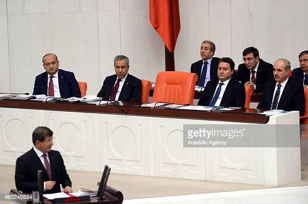 Turkish Deputy Prime Ministers Yalcin Akdogan Bulent Arinc Ali Babacan and Numan Kurtulmus listen as Turkish Prime Minister Ahmet Davutoglu speaks...
