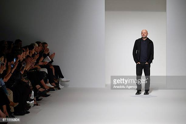 Turkish designer Hussein Chalayan poses after the presentation of his new collection during Paris Fashion Week Spring/Summer 2017 at the Former...