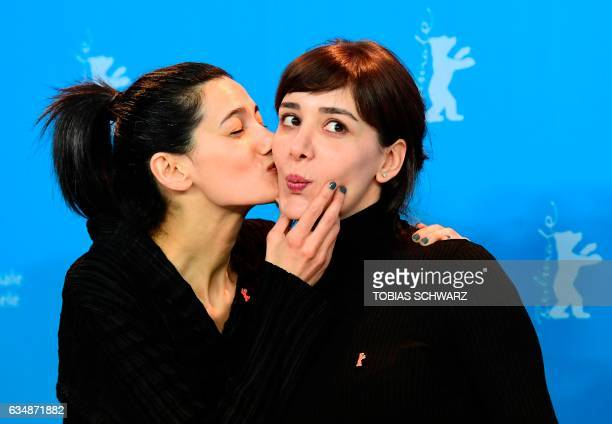 Turkish director Ceylan Ozgun Ozcelik and Turkish actress Algi Eke pose for photographers during a photocall for the film 'Kaygi' screened in the...