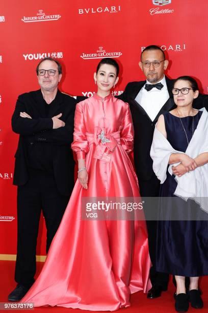Turkish director Semih Kaplanoglu Chinese actress Qin Hailu Chinese director and actor Jiang Wen and Hungarian film director Ildiko Enyedi arrive at...