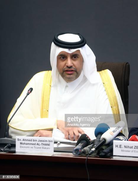 Turkish Economy Minister Nihat Zeybekci and Qatari Minister of Economy and Commerce Sheikh Ahmed Bin Jassim alThani attend their bilateral meeting in...