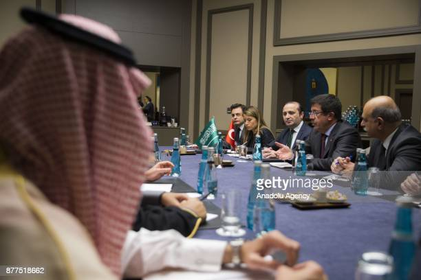 Turkish Economy Minister Nihat Zeybekci and Saudi Arabia's Minister of Commerce and Investment Majed bin Abdullah AlQasabi hold a meeting as part of...