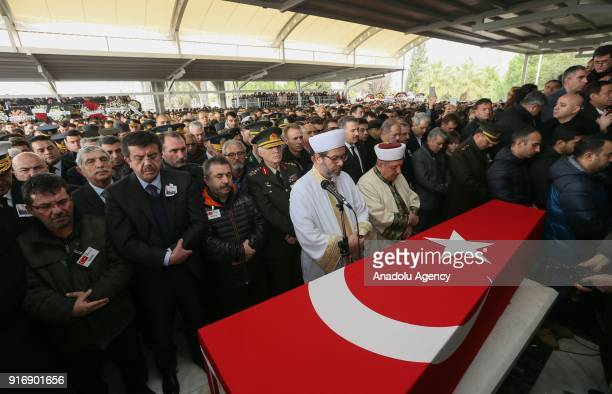 Turkish Economy Minister Nihat Zeybekci attends funeral ceremony of Staff Captain Pilot Mehmet Ilker Karaman who was martyred during Turkey's...