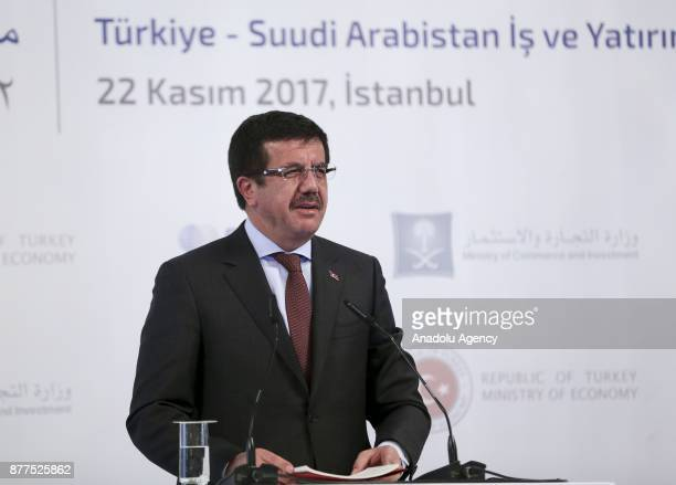 Turkish Economy Minister Nihat Zeybekci delivers a speech during the Saudi ArabiaTurkey Business Forum at InterContinental Hotel in Istanbul Turkey...