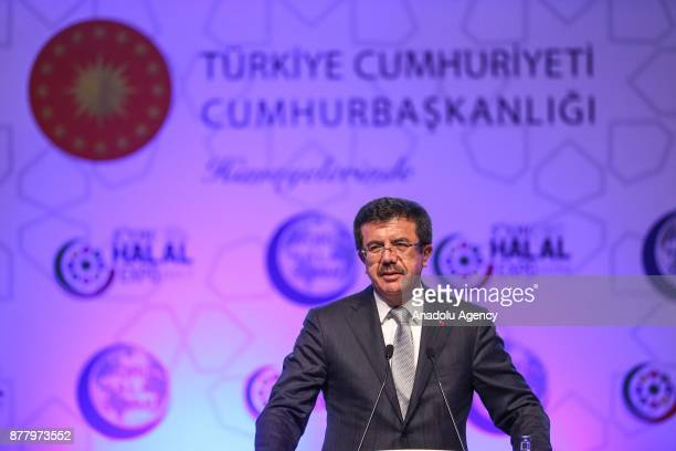 Turkish Economy Minister Nihat Zeybekci makes a speech as he attends the 5th OIC Halal EXPO and World Halal Summit at the Lutfi Kirdar International...