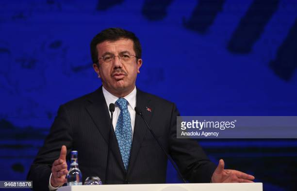 Turkish Economy Minister Nihat Zeybekci makes a speech as he attends the Global Entrepreneurship Congress in Istanbul Turkey on April 16 2018