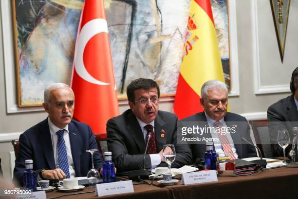 Turkish Economy Minister Nihat Zeybekci makes a speech during a meeting with Prime Minister of Turkey Binali Yildirim with the attendance of Turkish...