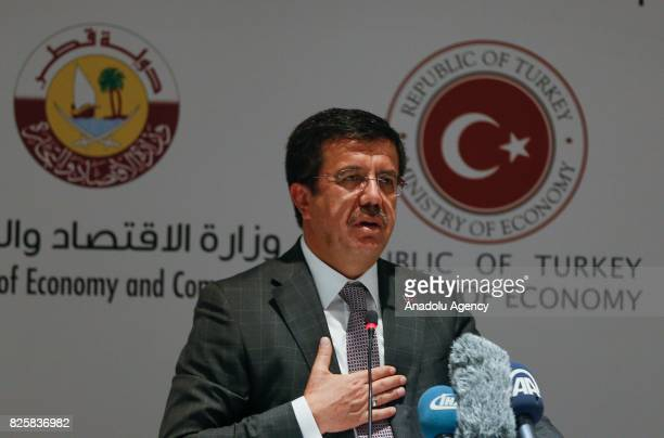Turkish Economy Minister Nihat Zeybekci makes an inauguration speech with the attendance of Qatari Minister of Economy and Commerce Sheikh Ahmed Bin...