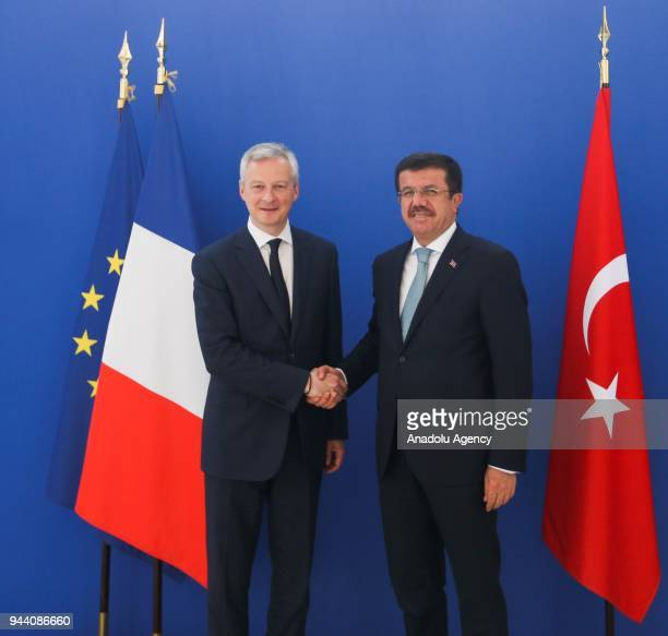 Turkish Economy Minister Nihat Zeybekci meets French Minister of Economy Bruno Le Maire in Paris France on April 10 2018