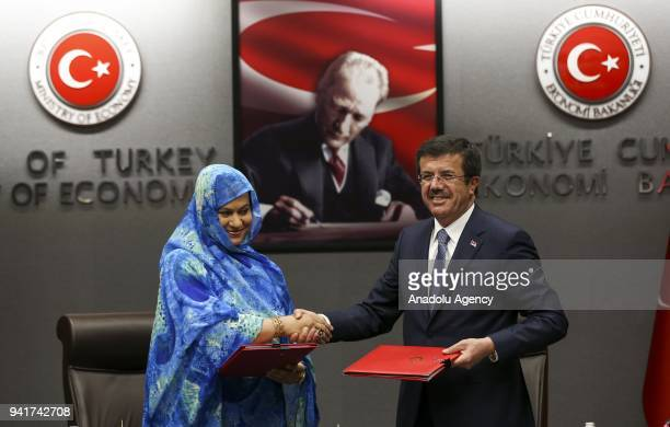 Turkish Economy Minister Nihat Zeybekci meets Minister of Commerce Industry Handicraft and Tourism of Mauritania Naha Mint Hamdi Ould Mouknass in...