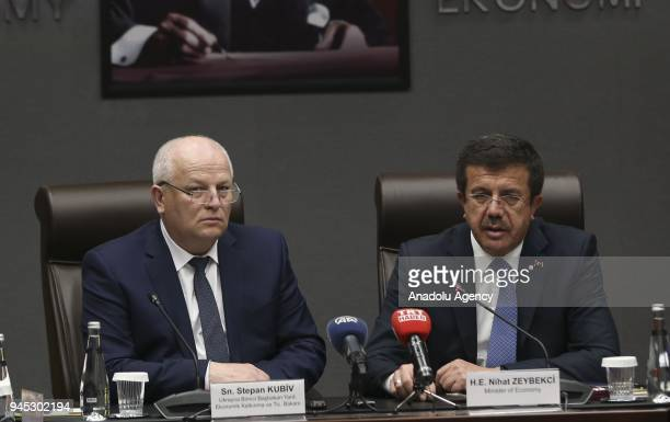 Turkish Economy Minister Nihat Zeybekci meets Ukraine's First Vice Prime Minister and Economy Minister Stepan Kubiv ahead of their meeting in Ankara...