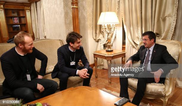 Turkish Economy Minister Nihat Zeybekci meets with Vice President of Uber for Europe Middle East and Africa PierreDimitri GoreCoty during the 48th...
