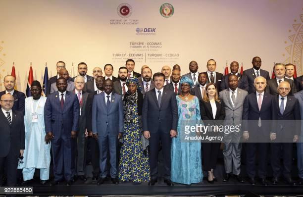 Turkish Economy Minister Nihat Zeybekci Minister of Economy Finance and Development of Burkina Faso Rosine SoriCoulibaly ECOWAS Commissioner for...