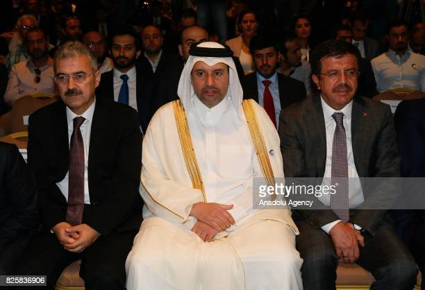 Turkish Economy Minister Nihat Zeybekci Qatari Minister of Economy and Commerce Sheikh Ahmed Bin Jassim alThani and Governor of Izmir Erol Ayyildiz...