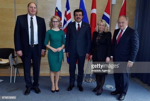 Turkish Economy Minister Nihat Zeybekci Swiss Chief Federal Department of Finance Johann SchneiderAmmann Foreign Minister of Liechtenstein Aurelia...