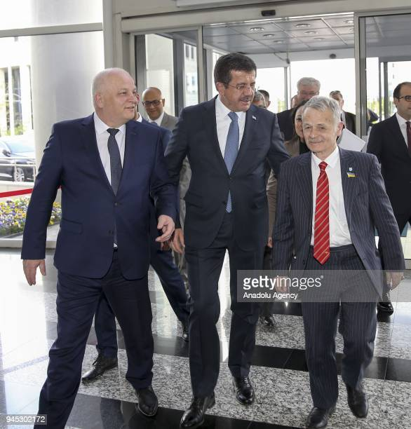 Turkish Economy Minister Nihat Zeybekci welcomes Ukraine's First Vice Prime Minister and Economy Minister Stepan Kubiv ahead of their meeting in...