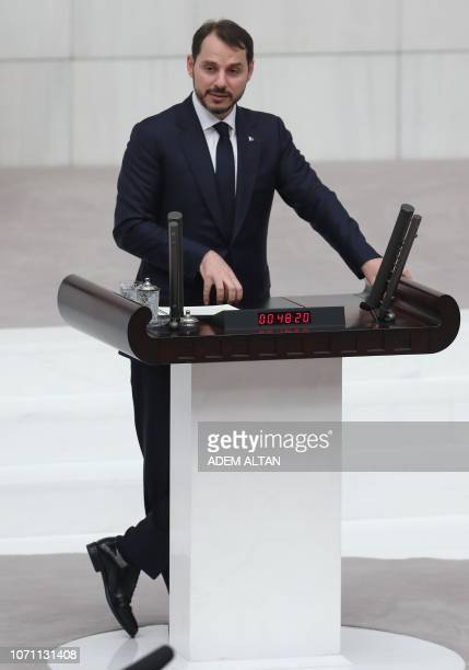 Turkish Energy and Natural Resources Minister Berat Albayrak presents the 2019 budget plan to the Grand National Assembly of Turkey in Ankara Turkey...