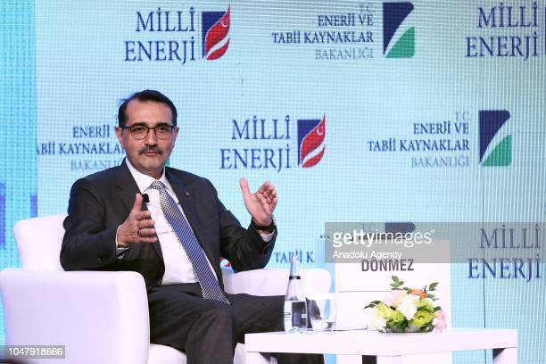 Turkish Energy and Natural Resources Minister Fatih Donmez answers questions following his speech at the opening ceremony of 9th Turkey Energy Summit...