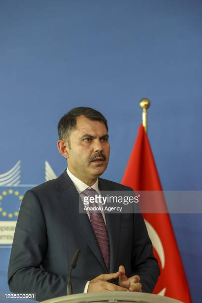 Turkish Environment and Urbanization Minister Murat Kurum and Vice president of the European Commission Frans Timmermans hold a press conference...