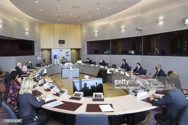 Turkish Environment and Urbanization Minister Murat Kurum and Vice president of the European Commission Frans Timmermans attend the EU-Turkey...