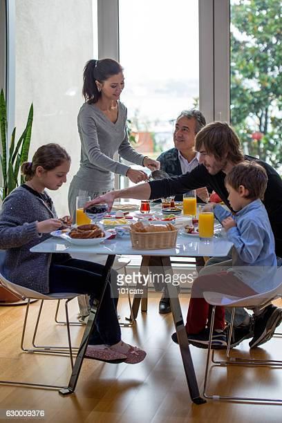 Turkish family having breakfast at the weekend