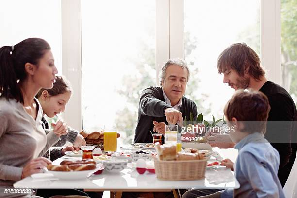 Turkish family having breakfast