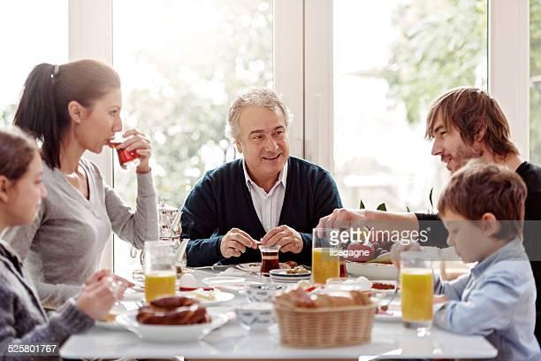 Turkish family having breakfast